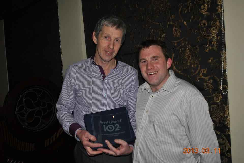 seanie gleeson on limerick 102 awards with dj Noel Madden