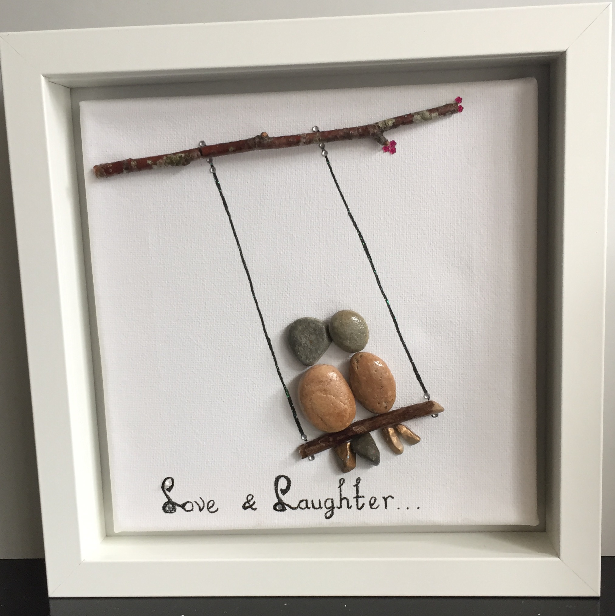 Pebble Art Unframed: Laugh Couple on a Swing
