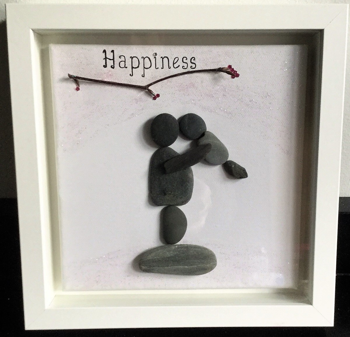 Pebble Art Framed: Happiness