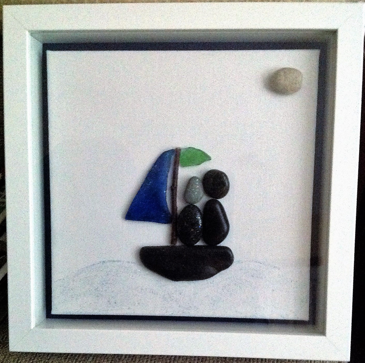 Pebble Art Framed: The Voyage, Boat Trip