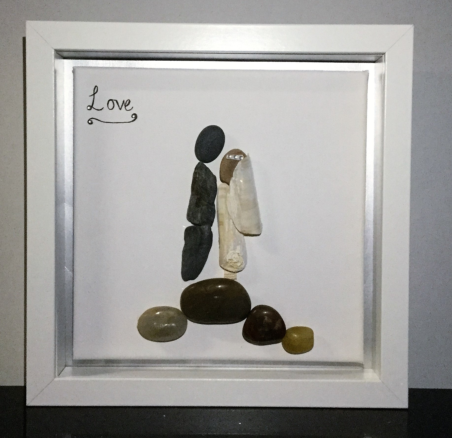 Pebble Art Framed: Love Wedding Canvas
